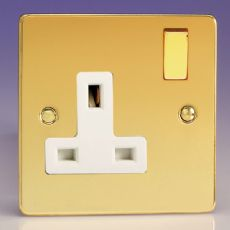Varilight 1 Gang 13A Switched Electrical Plug Socket Ultra Flat Polished Brass White Insret XFV4DW